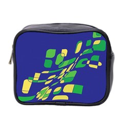 Blue Abstraction Mini Toiletries Bag 2 Side by Valentinaart