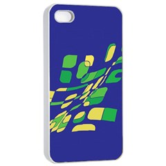 Blue Abstraction Apple Iphone 4/4s Seamless Case (white) by Valentinaart