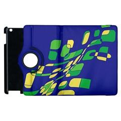 Blue Abstraction Apple Ipad 2 Flip 360 Case by Valentinaart