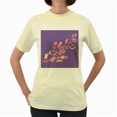 Purple abstraction Women s Yellow T-Shirt by Valentinaart