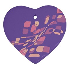 Purple Abstraction Heart Ornament (2 Sides) by Valentinaart