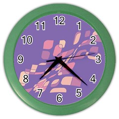 Purple abstraction Color Wall Clocks by Valentinaart