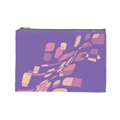 Purple Abstraction Cosmetic Bag (large)  by Valentinaart