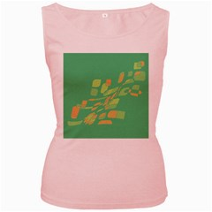 Green Abastraction Women s Pink Tank Top by Valentinaart