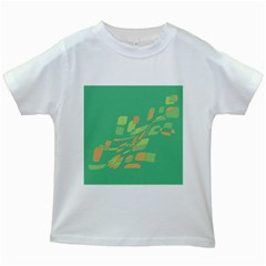 Green Abastraction Kids White T Shirts by Valentinaart