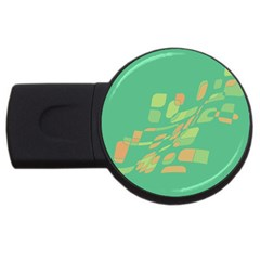 Green Abastraction Usb Flash Drive Round (4 Gb)  by Valentinaart