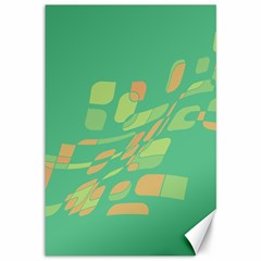 Green Abastraction Canvas 12  X 18   by Valentinaart