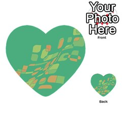 Green Abastraction Multi Purpose Cards (heart)  by Valentinaart