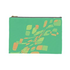 Green Abastraction Cosmetic Bag (large)  by Valentinaart