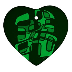 Green Abstraction Ornament (heart)  by Valentinaart