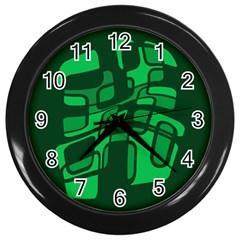 Green Abstraction Wall Clocks (black) by Valentinaart