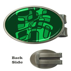 Green Abstraction Money Clips (oval)  by Valentinaart