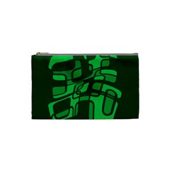 Green Abstraction Cosmetic Bag (small)  by Valentinaart