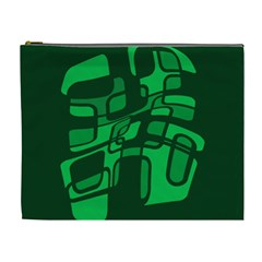 Green Abstraction Cosmetic Bag (xl) by Valentinaart