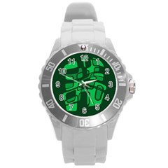 Green Abstraction Round Plastic Sport Watch (l) by Valentinaart