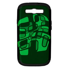 Green Abstraction Samsung Galaxy S Iii Hardshell Case (pc+silicone) by Valentinaart