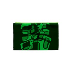Green Abstraction Cosmetic Bag (xs) by Valentinaart