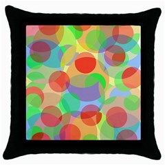 Colorful Circles Throw Pillow Case (black) by Valentinaart