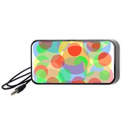 Colorful circles Portable Speaker (Black)  by Valentinaart
