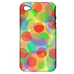 Colorful Circles Apple Iphone 4/4s Hardshell Case (pc+silicone) by Valentinaart