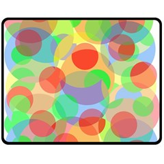 Colorful Circles Double Sided Fleece Blanket (medium)  by Valentinaart