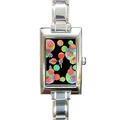 Colorful Circles Rectangle Italian Charm Watch