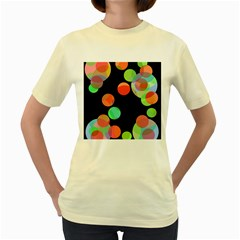 Colorful Circles Women s Yellow T Shirt by Valentinaart