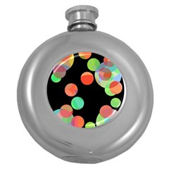 Colorful Circles Round Hip Flask (5 Oz) by Valentinaart