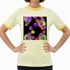 Colorful Decorative Circles Women s Fitted Ringer T Shirts by Valentinaart