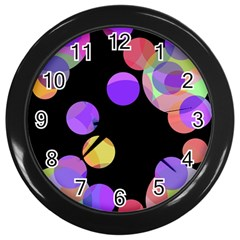 Colorful Decorative Circles Wall Clocks (black) by Valentinaart