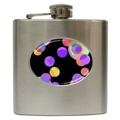 Colorful Decorative Circles Hip Flask (6 Oz) by Valentinaart