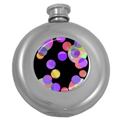 Colorful Decorative Circles Round Hip Flask (5 Oz) by Valentinaart
