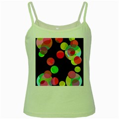 Colorful Decorative Circles Green Spaghetti Tank by Valentinaart