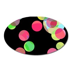 Colorful Decorative Circles Oval Magnet by Valentinaart
