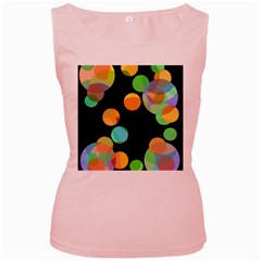 Orange Circles Women s Pink Tank Top by Valentinaart
