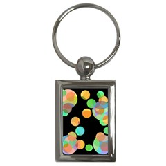 Orange Circles Key Chains (rectangle)  by Valentinaart