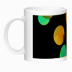 Orange Circles Night Luminous Mugs by Valentinaart