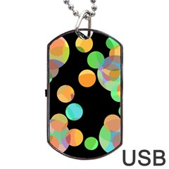 Orange Circles Dog Tag Usb Flash (one Side) by Valentinaart