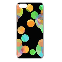 Orange Circles Apple Seamless Iphone 5 Case (clear) by Valentinaart