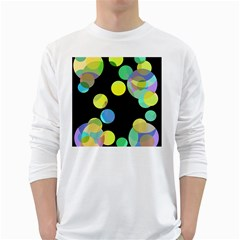 Yellow Circles White Long Sleeve T Shirts by Valentinaart