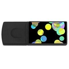Yellow Circles Usb Flash Drive Rectangular (4 Gb)  by Valentinaart