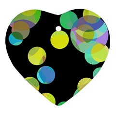 Yellow Circles Heart Ornament (2 Sides) by Valentinaart