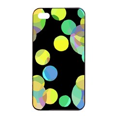 Yellow Circles Apple Iphone 4/4s Seamless Case (black) by Valentinaart