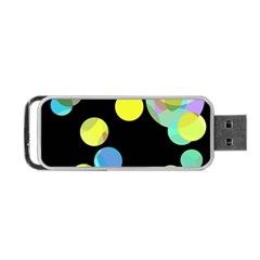 Yellow Circles Portable Usb Flash (one Side) by Valentinaart
