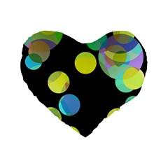 Yellow Circles Standard 16  Premium Heart Shape Cushions by Valentinaart