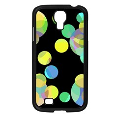 Yellow Circles Samsung Galaxy S4 I9500/ I9505 Case (black) by Valentinaart