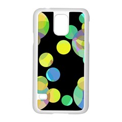 Yellow Circles Samsung Galaxy S5 Case (white) by Valentinaart