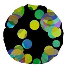 Yellow Circles Large 18  Premium Flano Round Cushions by Valentinaart