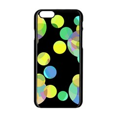 Yellow Circles Apple Iphone 6/6s Black Enamel Case by Valentinaart