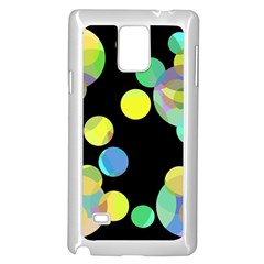 Yellow Circles Samsung Galaxy Note 4 Case (white) by Valentinaart